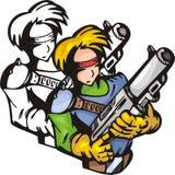 Lutadores 12 do Anime. ilustração stock
