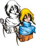 Lutadores 2. do Anime. ilustração stock