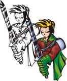 Lutadores 20 do Anime. ilustração royalty free