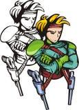 Lutadores 21 do Anime. ilustração stock