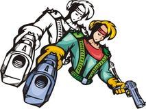 Lutadores 6. do Anime. ilustração royalty free