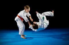 Lutadores das artes marciais dos meninos Fotografia de Stock