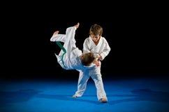Lutadores das artes marciais dos rapazes pequenos Imagens de Stock