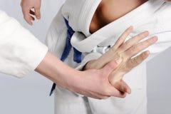 Lutadores do judo que wrestling para a supremacia Fotos de Stock Royalty Free
