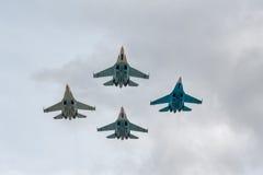 Lutadores militares Su-27 do ar Foto de Stock