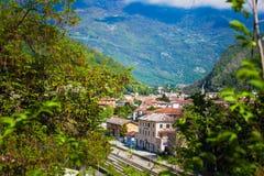 Lutande-förskjutning panorama av järnvägsstationen av Vittorio Veneto, Italien Fotografering för Bildbyråer