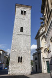 Lutande Klocka torn i Rijeka, Kroatien Fotografering för Bildbyråer