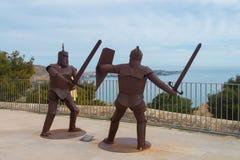 Lutar knights no castelo de Santa Barbara em Alicante foto de stock royalty free