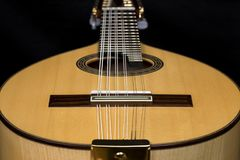Lute on black background. Lute, mandolin, bandurria. Royalty Free Stock Photos