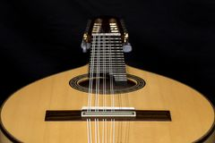 Lute on black background. Lute, mandolin, bandurria. Royalty Free Stock Image
