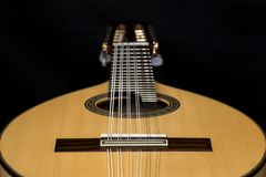 Lute on black background. Lute, mandolin, bandurria. Royalty Free Stock Images