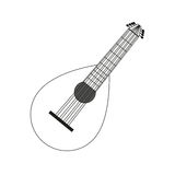 Lute contour black white Royalty Free Stock Image