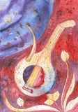Lute and flute. Hand painted musical instruments lute and flute Royalty Free Stock Images