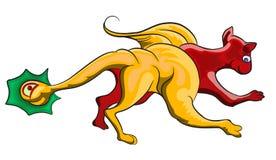 Lute o gato e a serpente Imagens de Stock