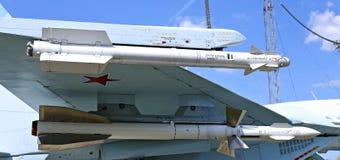 Lute o lutador militar Su-27 do russo dos aviões de combate em Moscou Foto de Stock
