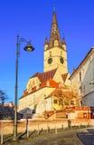 Luterański kościół, Niski Grodzki miasto, Sibiu, Transylvania, Rumunia Fotografia Stock