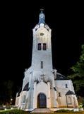 Luterański kościół przy nocą, Jurmala, Latvia Zdjęcie Stock
