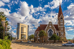 Luteran Christ Church and road with cars in front, Windhoek, Nam Stock Images