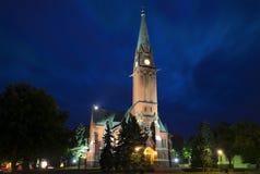 Luterański kościół w lato nocy Kotka Obraz Royalty Free