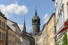 Luther city Wittenberg. Castle church in the Luther city Wittenberg Royalty Free Stock Images
