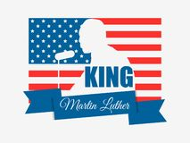 luther martin короля дня сновидение имеет I День Mlk Поздравительная открытка с американским флагом вектор иллюстрация штока