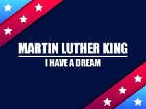 luther martin короля дня сновидение имеет I Поздравительная открытка с красными и голубыми нашивками со звездами День Mlk вектор иллюстрация штока