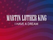 luther martin короля дня сновидение имеет I Поздравительная открытка с предпосылкой американского флага и градиента вектор иллюстрация штока