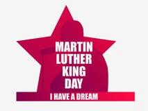 luther martin короля дня сновидение имеет I Поздравительная открытка с силуэтом, звездой и лентой человека День Mlk вектор бесплатная иллюстрация