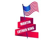 luther martin короля дня сновидение имеет I Поздравительная открытка с американским флагом и лентой вектор иллюстрация штока