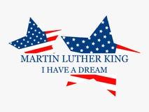luther martin короля дня сновидение имеет I Поздравительная открытка с американским флагом и звездами вектор иллюстрация вектора