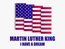 luther martin короля дня сновидение имеет I Поздравительная открытка с американским флагом на белой предпосылке вектор бесплатная иллюстрация