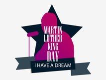 luther martin короля дня сновидение имеет I Поздравительная открытка с силуэтом, звездой и лентой человека День Mlk вектор иллюстрация вектора