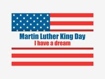 luther martin короля дня сновидение имеет I Поздравительная открытка с американским флагом День Mlk вектор иллюстрация вектора