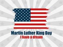 luther martin короля дня сновидение имеет I Поздравительная открытка с американским флагом в стиле grunge Лучи на предпосылке век иллюстрация вектора