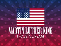 luther martin короля дня сновидение имеет I Праздничная предпосылка для плаката, знамени с американским флагом вектор иллюстрация вектора