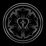 Luther Rose Silver Protestants Symbol stock illustratie