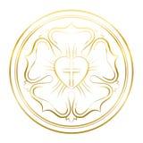 Luther Rose Symbol Golden Flower Imagens de Stock