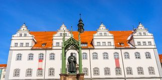 Luther Statue Colorful Market Square Rathuas Lutherstadt Wittenberg Germany. Martin Luther Statue, Colorful Market Square Rathuas Lutherstadt Wittenberg Germany stock photos