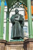 Luther Statue Colorful Market Square Rathuas Lutherstadt Wittenberg Germany. Martin Luther Statue, Colorful Market Square Rathuas Lutherstadt Wittenberg Germany stock photography