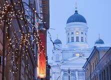Lutheran Cathedral and Christmas decorations Royalty Free Stock Image
