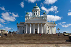 The Lutheran Cathedral in Helsinki, Finland. The impressive green-domed Lutheran Cathedral (Tuomiokirkko in Finnish) dominates Senate Square and the skyline of royalty free stock photography