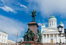 Lutheran cathedral and monument to Russian Emperor Alexander II Stock Photography