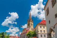 Lutheran Cathedral of Saint Mary on a beautiful sunny summer day in Sibiu, Transylvania region, Romania.  royalty free stock photos
