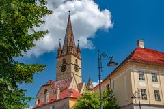 Lutheran Cathedral of Saint Mary on a beautiful sunny summer day in Sibiu, Transylvania region, Romania.  royalty free stock image