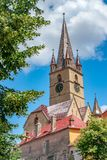 Lutheran Cathedral of Saint Mary on a beautiful sunny summer day in Sibiu, Transylvania region, Romania.  royalty free stock photography