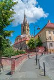 Lutheran Cathedral of Saint Mary on a beautiful sunny summer day in Sibiu, Transylvania region, Romania.  stock image