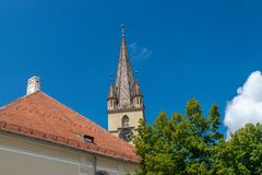 Lutheran Cathedral of Saint Mary on a beautiful sunny summer day in Sibiu, Transylvania region, Romania.  royalty free stock images