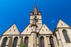 Lutheran Cathedral of Saint Mary on a beautiful sunny summer day in Sibiu, Transylvania region, Romania.  stock images