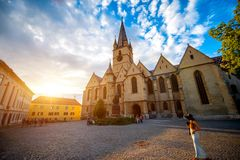 Lutheran Cathedral of Saint Mary in Sibiu Stock Photo