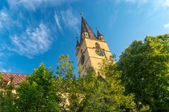 Lutheran Cathedral of Saint Mary in Sibiu, Transylvania region, Romania.  royalty free stock images